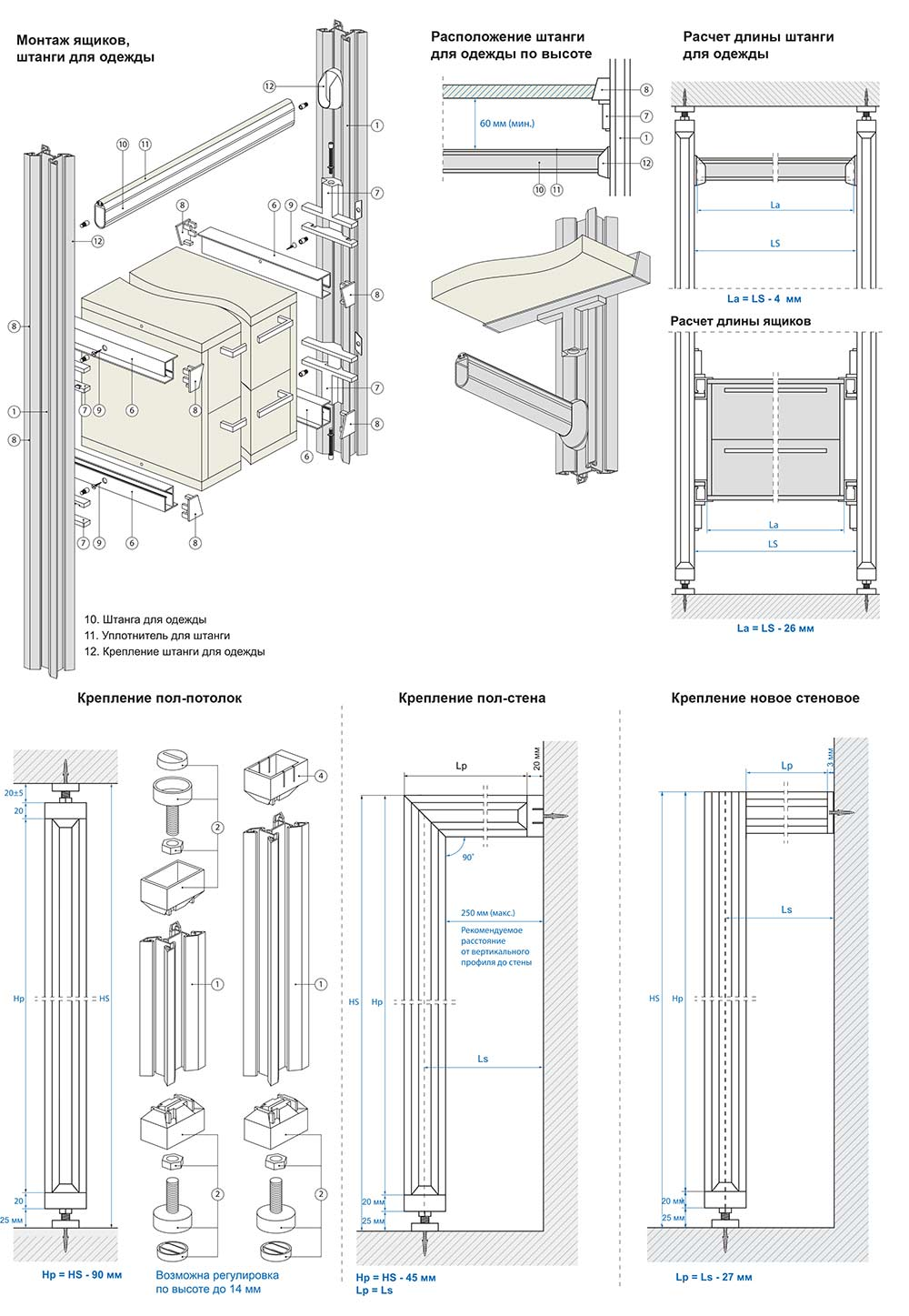 гардеробные системы схема крепления модулей