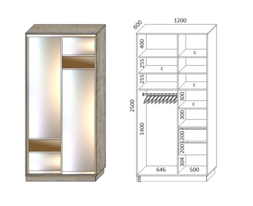 Шкаф купе в спальню с комбинацией зеркал