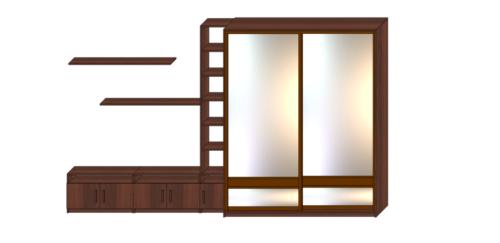 Шкаф купе в спальню с пеналом и тумбой