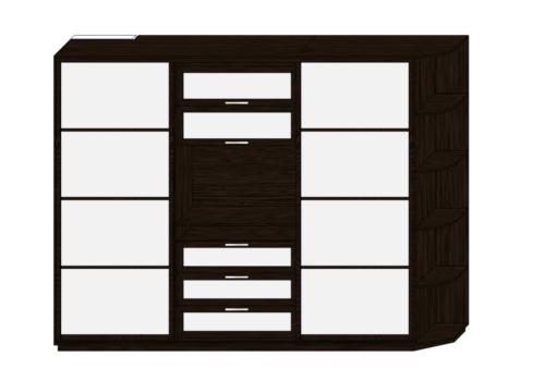 Шкаф купе в спальню с нишей под телевизор
